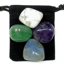 OVERCOMING ANGER  Tumbled Crystal Healing Set = 4 Stones + Pouch + Card