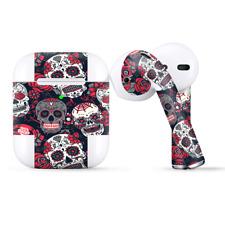 Skins Wraps compatible for Apple Airpods  Sugar Skulls Red Black Dia de los