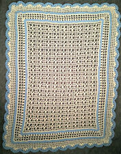 Afghan Blanket Hand Crochet White and Blue Oversize Crib Size 38 x 51