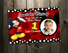 MICKEY MOUSE BIRTHDAY INVITATION PARTY CARD PHOTO INVITES 1ST N4- 9 DESIGNS !