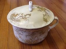 Madock's Lamberton Works Royal Porcelain Flowered Chamber Pot w/ lid  c. 1900