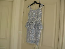 Ladies Dress Design Valley Girl Size 8/10 Blue/ White No Sleeves Lined Polyester
