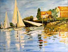 Stretched, Hand Painted Oil Painting, Monet Regatta at Argenteuil Repro, 30x40in
