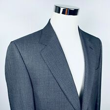 Canali Mens 40L Sport Coat Silk Wool Blend Blue Gold Check Two Button Vented