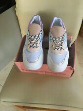 Public Desire Boe White Pastel Detail Chunky Trainers Size 5