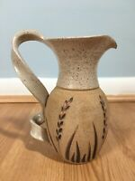 Handmade Pottery Swirl Handle Pitcher Engraved Flowers Marked Martinez