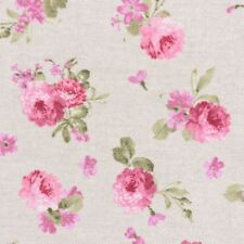 Dekostoff Rosen Pfingstrosen beige rosa