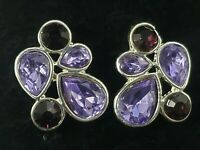 Vintage Napier Purple Amethyst Colored Rhinestone Cluster Earrings Silver Tone