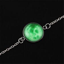 Universe Moon Earth Cabochon Bracelet Glow in the Dark Luminous Neckalce Pendant