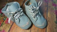 ANTIQUE! Adorable BLUE Embroidered WOOL INFANT SHOES for COMPOSITION BISQUE DOLL