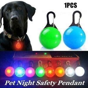 Pet Dog Collar Pendant Safety Round Flashing Glow Light Blinking LED Tags hot