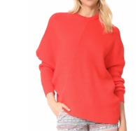 Free People Small Orange Coral Long Sleeve Downtown Knit Pullover Sweater