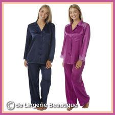 Ladies Plain Satin Silky Soft PJs Pyjamas Full Length Long Sleeve Size 10-32