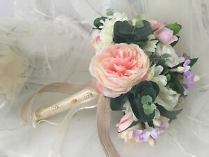 Brides Bouquet rustic Pink Blush Ivory & Lilac clearance last one reduced