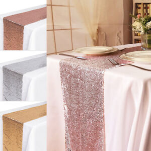 """12"""" x 72"""" Gold/Silver Glitter Sequin Table Runner Sparkly Wedding Party Decor UK"""