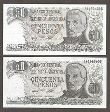 Argentina 50 Pesos N.D. (1976); UNC; P-301a,b; Hot springs, set of 2 notes