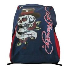 Ed Hardy Skull Backpack / Day Bag / School Bag in Blue & Red *New*