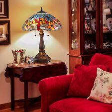 2-Light Tiffany Style Table Lamp Art Glass Geometry Shape Shade UL Listed