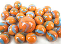 25 Glass Marbles SEAHORSE Orange/Blue Classic vtg Style Game Pack Shooter Swirl