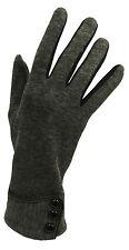 New Vintage 1930s 1940s 50's Style Fine Knit  Grey Button Detail Warm Gloves