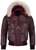 Men's Puffers Hooded Bomber Jacket Cherry Real Lambskin Leather Pilot 6 Puffer