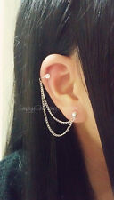 Rhinestone Ear Cuff Double Cartilage Chain Helix Earring Double Chain Earring