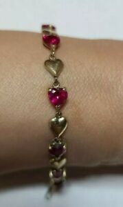"""Solid 10K Yellow Gold, Ruby Red Heart-Shaped vibrant Stones Bracelet ~7"""""""