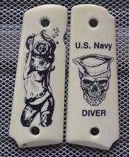 """1911/Clones For Kimber/Colt Frames Scrimshawed """" U.S. Navy Diver"""" IP Grips!"""