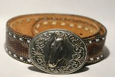 Rare Vintage Horse Head Chambers Phoenix 24KGold Plated Leather Belt Buckle 42''