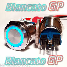 PULSANTE monostabile 22mm SPDT LED Blu 12V Waterproof perauto moto camper switch