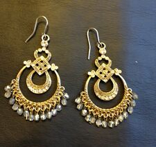 INDIAN STYLE DANGLE EARRINGS GOLDTONE METAL SPARKLING RHINESTONES