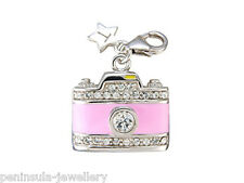 Tingle Camera Clip on Sterling Silver Charm with Gift Box and Bag