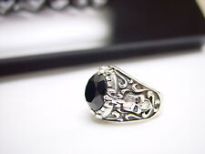 14k White Gold Men's Silver Black Diamond Skull Ring