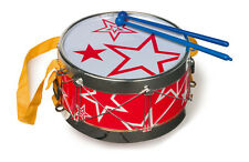 TAMBURO, decorato con stelle, con bacchette di plastica, diametro cm 19