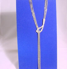 Silver Chain Necklace With Cubin Zirconia Encrusted Hook Detail #N83657/22