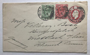 1910 KGV UK Red Stationary Cover with 1d Red ½d Green KGV Glasgow to Germany