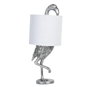 Silver Flamingo Table Lamp Bedside Light with White Shade 50cm 60w Quirky Decor