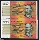 Australia R-411. (1989) 20 Dollars - Phillips/Fraser.. UNC - CONSECUTIVE Pair