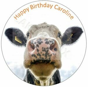 Funny Cow Happy Birthday Cake Topper With Your Own Personalised Message Words