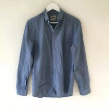 Acne Mens Blue Pop Classics Long Sleeve Chambray Denim Shirt size M UK 38 EU 48