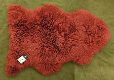 *RARE* 100% GENUINE CURLY Sheepskin Rug - NATURAL WAVY  CRIMPED WOOL - RED CEDAR