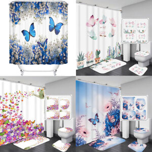 Butterfly Flowers Cactus Bathroom Shower Curtain Bath Mat Rugs Toilet Seat Cover
