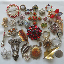 Vintage Fashion 36 PC Rhinestone Crystal Enamel Jewelry Brooch Pin Lot