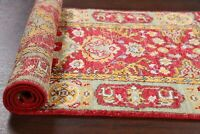 Vegetable Dye Red Oushak Turkish Runner Rug Hand-Knotted Wool Carpet 2'x6'