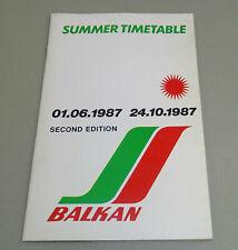 Balkan Bulgarian Airlines Summer Timetable Second Edition - June /October 1987