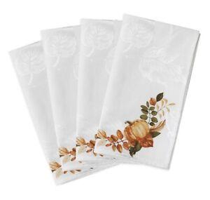 Windsor Frame Set of 4 Napkins White With Pumpkins Cotton Blend New