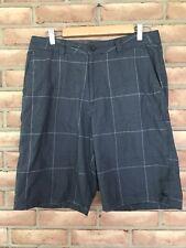 Hurley Men's Size 32 Walking Casual Shorts Flat Front Gray Plaid