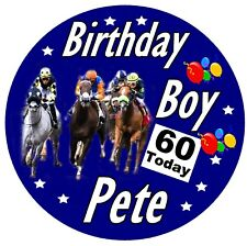 HORSE RACING FUN PERSONALISED BIRTHDAY BADGE, ANY NAME AND AGE / NEW / GIFTS