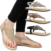 Womens Flat Diamante Shoes Party Comfy Open Toe Comfy Ladies Summer Sandals Size