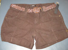 NEW Brown Shorts w/Belt Girl Apt 9 Size 14 Pockets Linnen/Cotton Mix